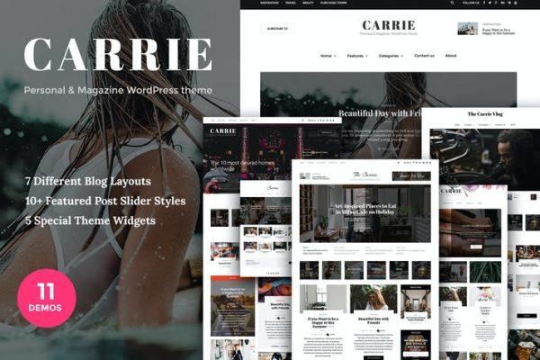 Carrie - Kişisel ve Dergi WordPress teması