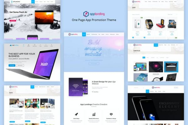 App Promotion -  Bir Sayfa Uygulaması Tanıtım Temasısı
