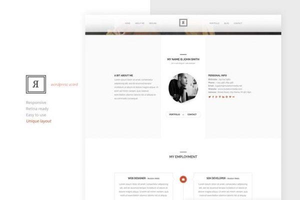 RIVAL One Page Vcard Wordpress  Teması