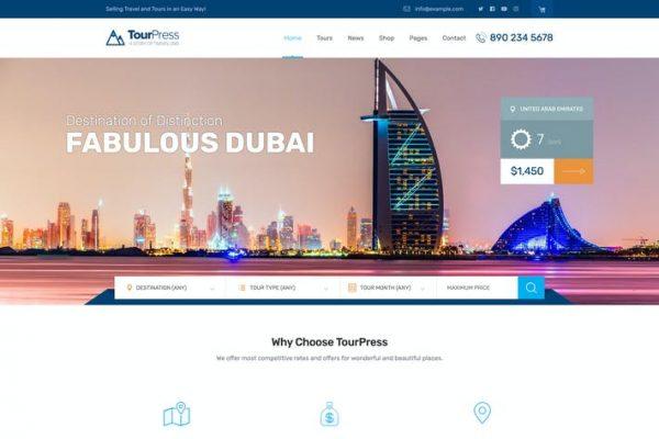 TourPress -  Seyahat Rezervasyon WordPress Temasısı