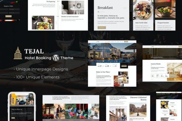 Tejal -  Resort, Otel Rezervasyonu WordPress Teması