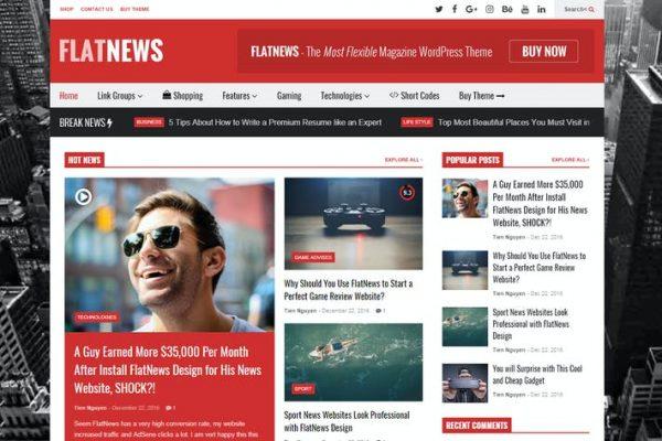FlatNews -  Duyarlı Dergi WordPress Temasısı