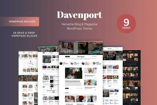 Davenport -  Blog ve Dergi WordPress teması