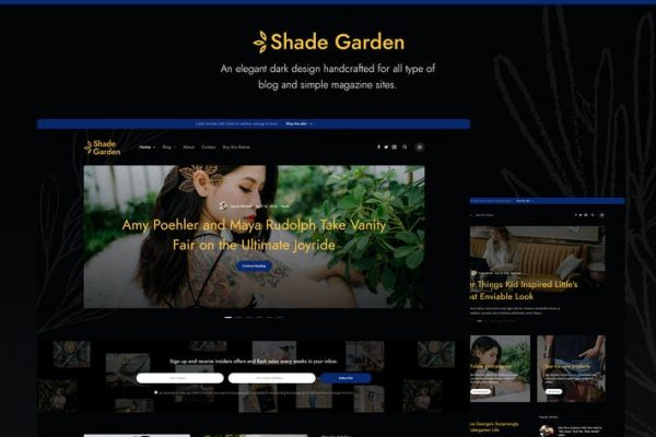 Shade Garden Blog -  Yaratıcı Blog WordPress Temasısı