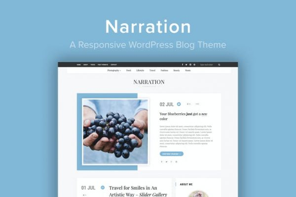 Narration -  Duyarlı bir WordPress Blog Temasısı