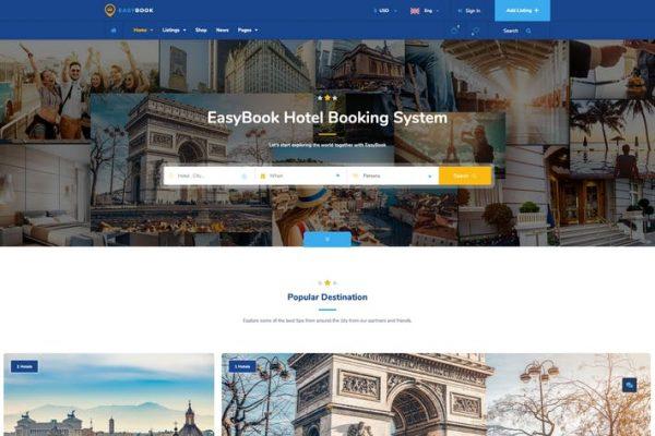 EasyBook -  Otel ve Tur Rezervasyonu WordPress Temasısı