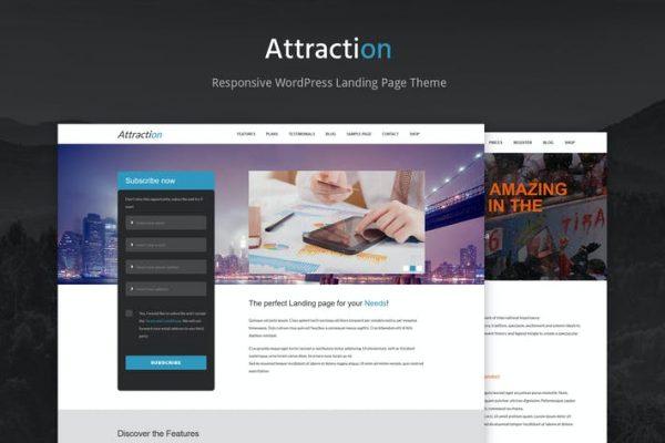 Attraction Responsive WordPress Landing Page  Teması