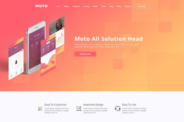 Moto -  WordPress Açılış Sayfası Temasısı