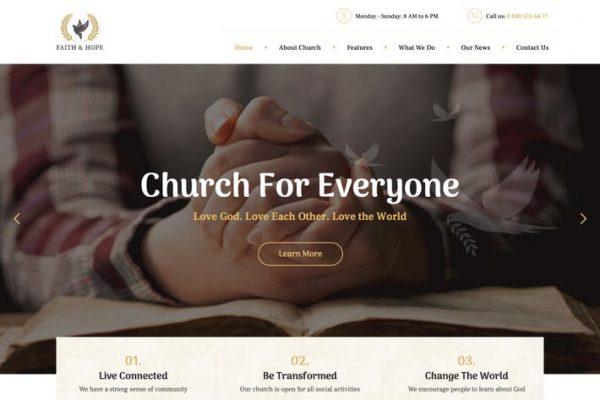 Faith & Hope -  Modern Bir Kilise ve Din WordPre