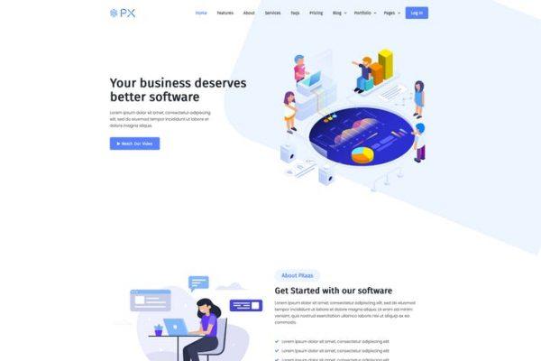 PXaas -  Uygulama ve Yazılım Açılış Sayfası Temasısı