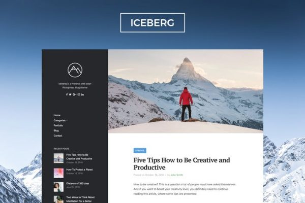 Iceberg - Temiz ve Modern WordPress Blog Temasısı